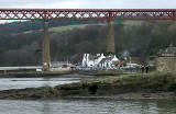Zoom-in on The Hawes Inn, South Queensferry  -  a photograph taken during The Loony Dook  -  A dip in the Firth of  Forth on New Year's Day, 2006