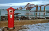 South Queensferry  -  Reproduction Penfold Pillar Box and Forth Rail Bridge  -  December 2010