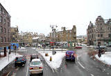View from the upper deck of a 23 bus heading down LauristonPlace towards Tollcross  -  Christmas Eve, 2010