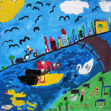 Edinburgh Canal Festival, 2013  -  A mural from one of the local schools, on display beside the canal