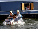 Edinburgh Canal Festival, 2013  -  Passing a barge moored at the side of the canal