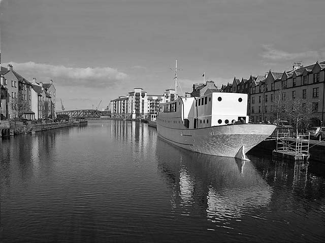 Loking to the north from the bridge over the Water of Leith at Bernard Street, towards the site of the Lower Drawbridge and Leith Docks