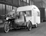 Scottish Open Air Holiday Show at Waverley Market - Motorcycle towing caravan - 1960