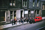 Where is it?  Salvation Army playing probably somewhere in Edinburgh Old Town, 1963