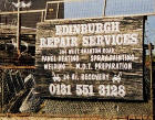 Zoom-in to the sign for Edinburgh Repair Services - one of the small businesses in West Granton Road, close to its junction with Crewe Road North  -  5 May 2003
