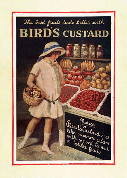 An advert for Bird's Custard  -  included in the exhibition 'Sales of the Century:  A Celebration of Shopping in Scotland' on display at the National Library of Scotland from December 2005