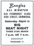 Edinburgh clubs and discos  -  Advert for Bungies  -  1960s