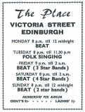 Edinburgh clubs and discos  -  Advert for The Place  -  1960s