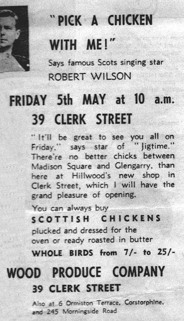 Advert for the official opening of Hillwood Produce Co roast chicken shop at 39 Clerk Street