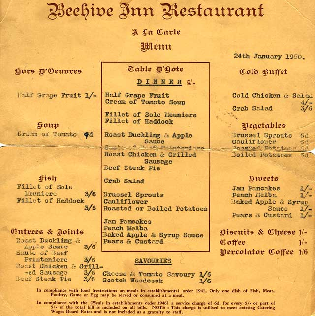 The Beehive Cafe Menu