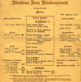 Menu from the Beehive Restaurant  -  1950