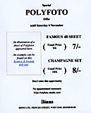 Advert for Polyfotos at Binns, West End of Princes Street, Edinburgh