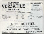 J F Duthie Advert  -  May 1910