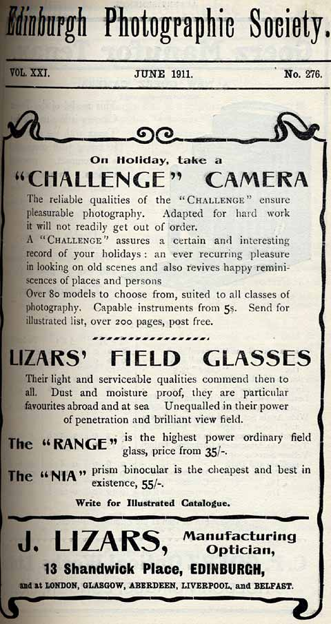 Lizars Advert  -  June 1911