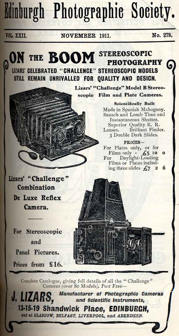 Lizars Advert  -  November 1911