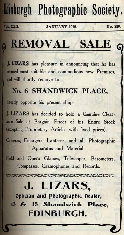 Lizars Advert  -  January 1912