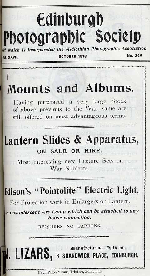 Lizars Advert  -  October 1916