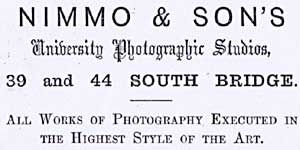 Advert in the Edinburgh & Leith Post Office Directoreis  -  1869 to 1890  -  Nimmo & Son