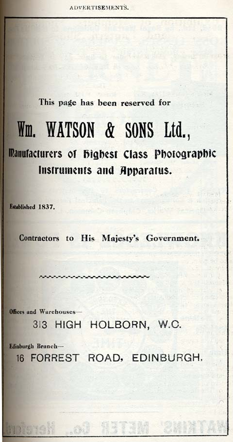 W Watson & Sons Advert  -  October 1911