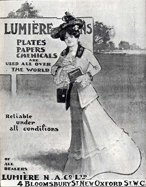 Advert in A H Baird's journal, 'Photogaraphic Chat'  - 1902  -   Lumiere Plates, Papers and Chemicals