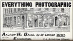 Photographic Dealers  - A H Baird  -  Adverts in his journal, Photographic Chat  - 1903  -  A H Baird  -  Everything Photographic
