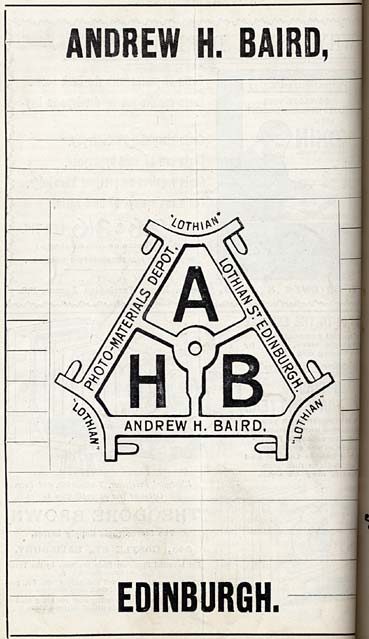 Photographic Dealers  - A H Baird  -  Adverts in his journal, Photographic Chat  - 1903  -  A H Baird Logo