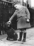 John Taylor, aged about 5 or 6, standing beside the statue of Greyfriar's Bobby - possibly around 1948-49