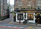 Field Gun and Guard of Honour outside Greyfriars' Bobby's Bar for the ceremony to Greyfriars' Bobby in Greyfriars' Churchyard