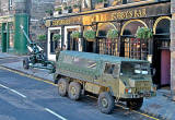 Field Gun and army truck outside Greyfriars' Bobby's Bar for the ceremony to Greyfriars' BObby in Greyfriars' Churchyard