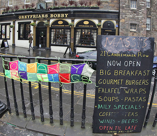 Scarf with hogmanay greetings foound on the railings beside scarf with hogmanay greetings foound on the railings beside greyfriars bobby on new years day 2015 m4hsunfo