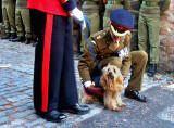 Colour Sergeant Scott and Skye Terrier Bleu, near the entrance to Greyfriars' Kirk at the top of Candlemaker Row