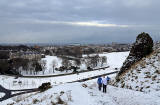 Looking down on Holyrood Palace from the Radical Road in Holyrood Park  -  January 2013