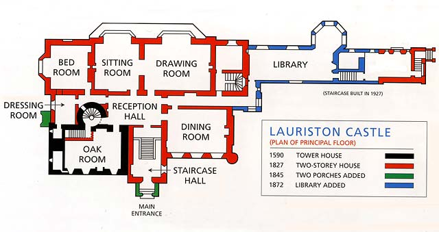 Lauriston Castle Plan Of The Principal Rooms