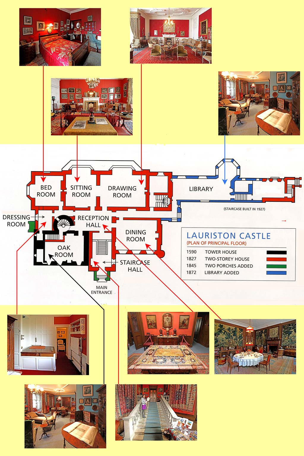 Lauriston castle plan and photos of the principal rooms for Principal room design