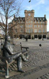 Malmaison Hotel, Leith and Statue to Sandy Robertson  -  November 2005