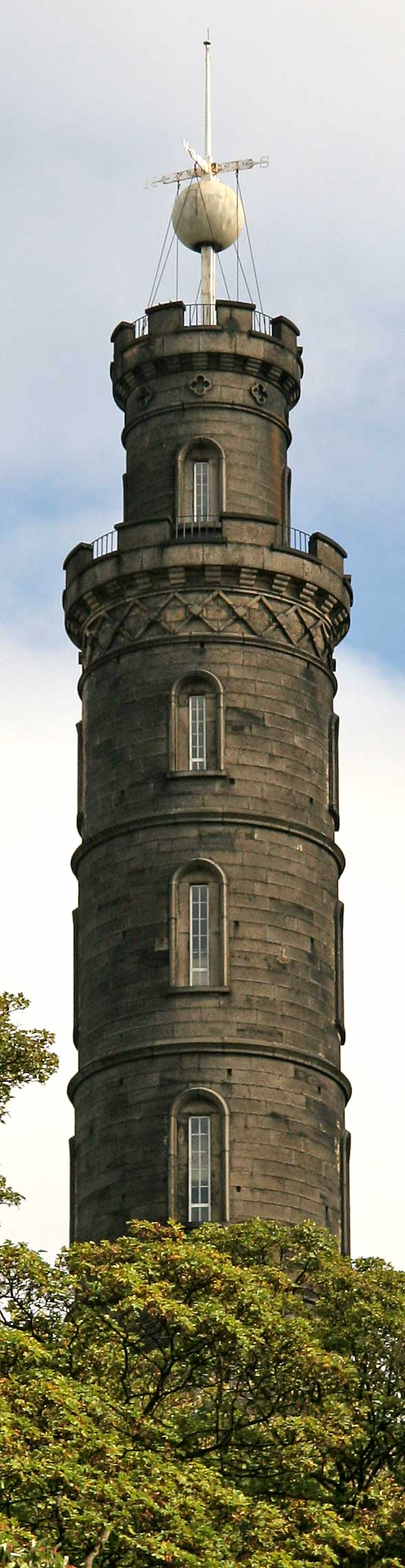 The Nelson Monument on Calton Hill.  The time ball photographed at 11.59pm on October 2, 2006  -  waiting to be lowered at 1pm