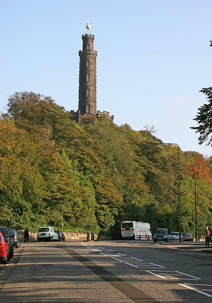The Nelson Monument on Calton Hill. Time ball in raised position at 12.59pm on October 16, 2006  -  About to be lowered