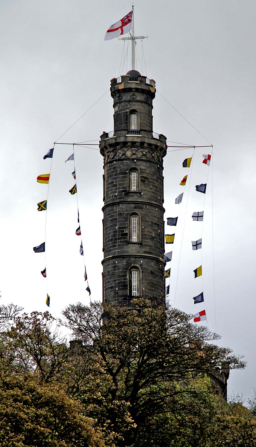Nelson Monuments decorated with flags for Trafalgar Day, 2011