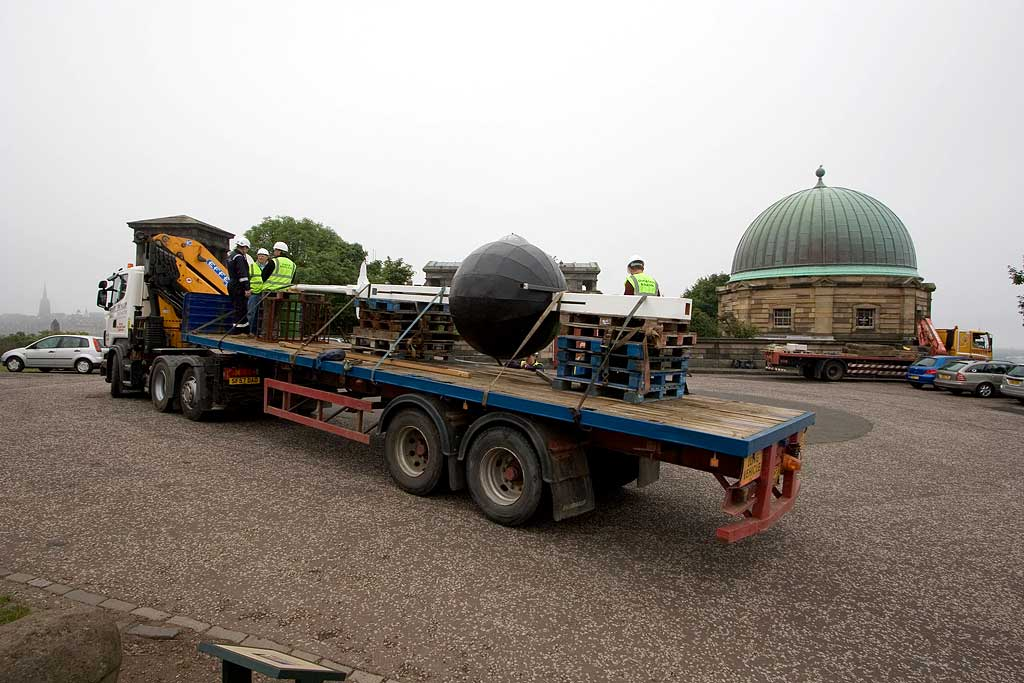 The time ball arrives back at the Nelson Monument on Calton Hill folowing its restoration