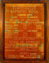 Portobello Open Air Bathing Pool  -  Notice Board, 1978