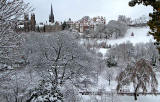 Princes Street Gardens and Ramsay Garden in the snow  -  Novembe 2010