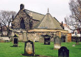 Looking across the small graveyard to Restalrig Church  -  February 2004