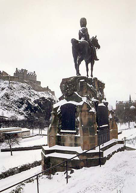 Royal Scots Greys' memorial statue  -  West Princes Street Gardens  -  January 1987