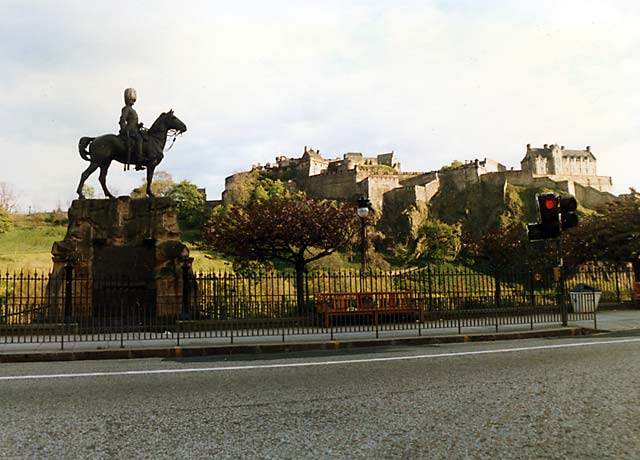 Royal Scots Greys' memorial statue  -  West Princes Street Gardens  -  May 1987