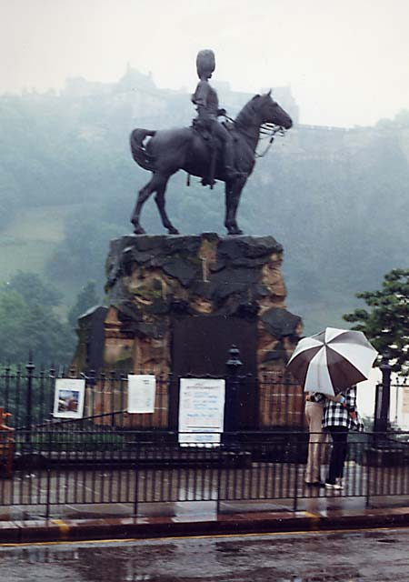 Royal Scots Greys' memorial statue  -  West Princes Street Gardens  - July 1987