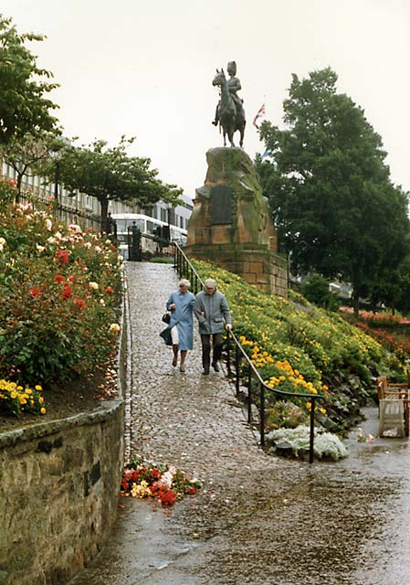 Royal Scots Greys' memorial statue  -  West Princes Street Gardens  - September 1987