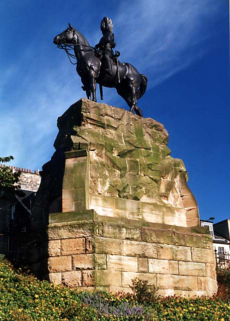 Royal Scots Greys' memorial statue  -  West Princes Street Gardens  - October 1987