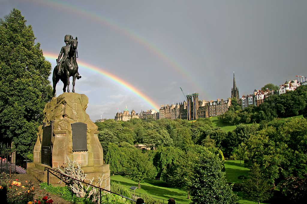Royal Scots Greys Statue in West Princes Street Gardens and Rainbow