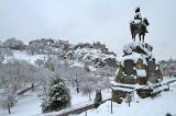 Royal Scots Greys Statue in West Princes Street Gardens  -  Edinburgh Castle in the background