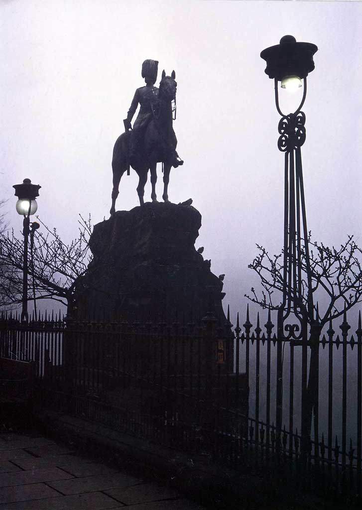 Royal Scots Greys' memorial statue  -  West Princes Street Gardens  -  August 1978